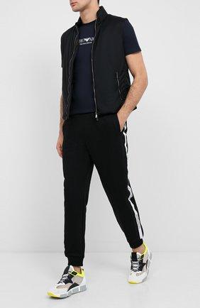 Мужская хлопковая футболка EMPORIO ARMANI темно-синего цвета, арт. 8N1T61/1J00Z   Фото 2