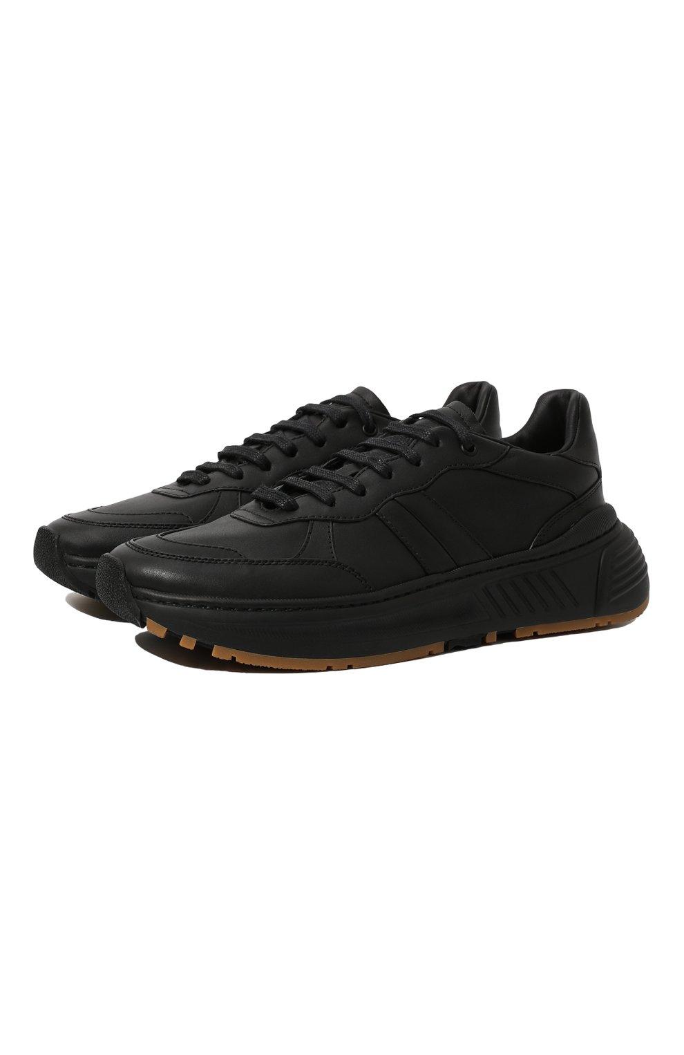 Мужские кожаные кроссовки BOTTEGA VENETA черного цвета, арт. 565646/VT040 | Фото 1 (Материал внутренний: Натуральная кожа; Стили: Классический; Подошва: Массивная)