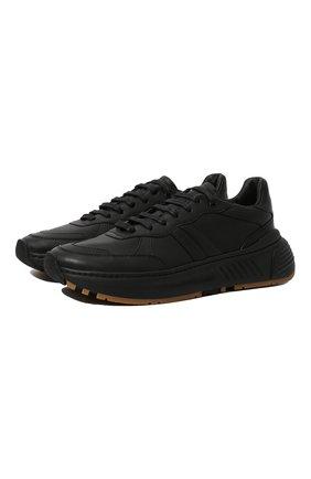 Мужские кожаные кроссовки BOTTEGA VENETA черного цвета, арт. 565646/VT040 | Фото 1 (Материал внутренний: Натуральная кожа; Подошва: Массивная; Стили: Классический)