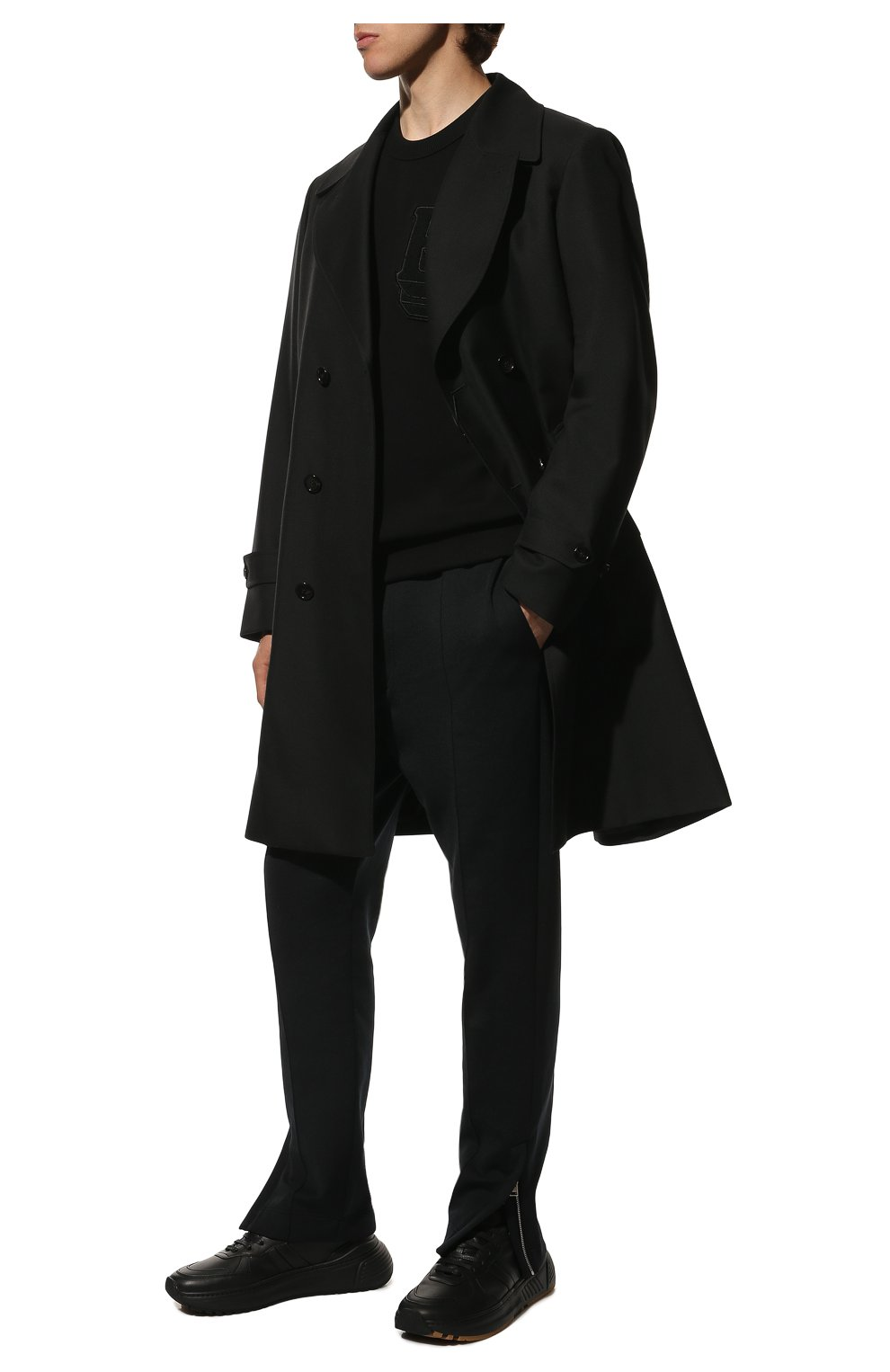 Мужские кожаные кроссовки BOTTEGA VENETA черного цвета, арт. 565646/VT040 | Фото 2 (Материал внутренний: Натуральная кожа; Стили: Классический; Подошва: Массивная)