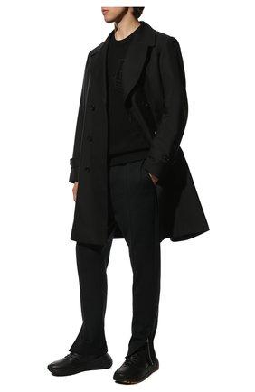 Мужские кожаные кроссовки BOTTEGA VENETA черного цвета, арт. 565646/VT040 | Фото 2 (Материал внутренний: Натуральная кожа; Подошва: Массивная; Стили: Классический)