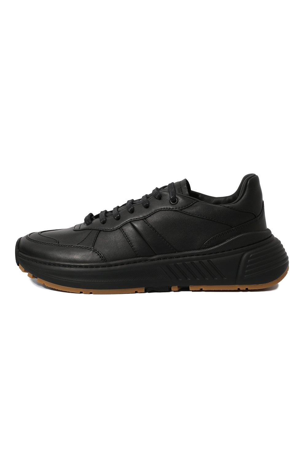 Мужские кожаные кроссовки BOTTEGA VENETA черного цвета, арт. 565646/VT040 | Фото 4 (Материал внутренний: Натуральная кожа; Стили: Классический; Подошва: Массивная)