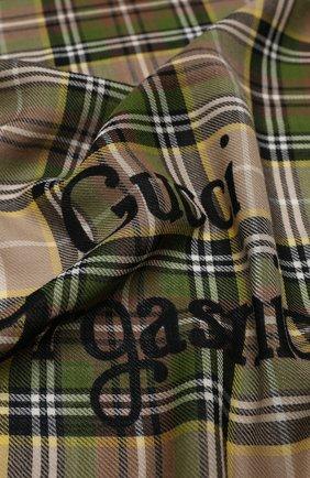 Мужской шерстяной шарф checky gailes GUCCI бежевого цвета, арт. 620547/4G200 | Фото 2