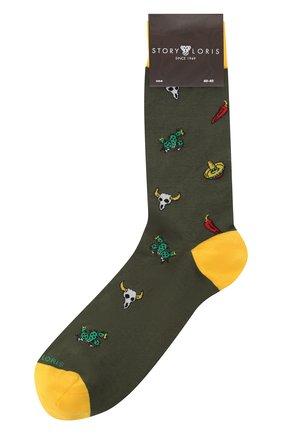 Мужские хлопковые носки STORY LORIS хаки цвета, арт. 5883 | Фото 1