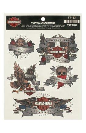 Мужская набор из пяти переводных татуировок HARLEY-DAVIDSON разноцветного цвета, арт. TT163 | Фото 1
