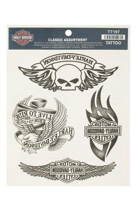 Мужская набор из четырех переводных татуировок HARLEY-DAVIDSON черно-белого цвета, арт. TT197 | Фото 1
