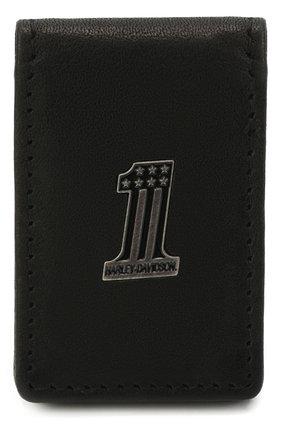 Мужской кожаный зажим для денег HARLEY-DAVIDSON черного цвета, арт. CR2381L-Black | Фото 1