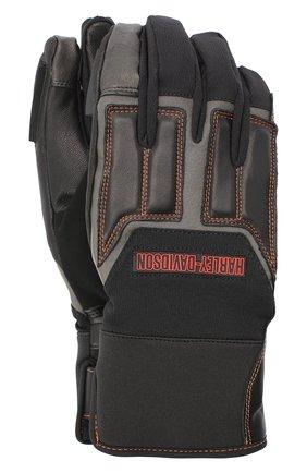 Мужские комбинированные перчатки genuine motorclothes HARLEY-DAVIDSON черного цвета, арт. 98118-20VM | Фото 1