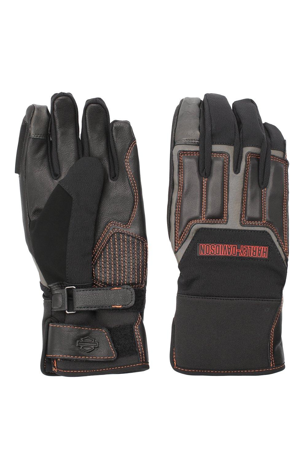 Мужские комбинированные перчатки genuine motorclothes HARLEY-DAVIDSON черного цвета, арт. 98118-20VM   Фото 2 (Материал: Текстиль; Кросс-КТ: Спорт)