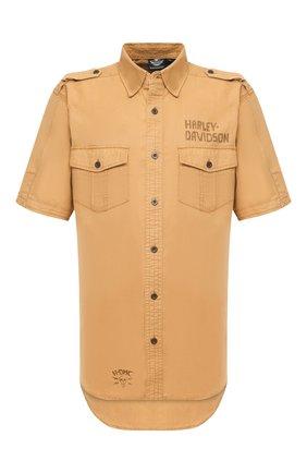 Мужская рубашка из хлопка и льна black label HARLEY-DAVIDSON бежевого цвета, арт. 96465-15VM | Фото 1 (Материал внешний: Хлопок, Лен; Рукава: Короткие; Длина (для топов): Стандартные; Случай: Повседневный; Воротник: Кент)