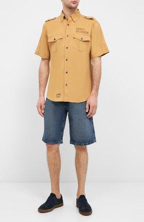 Мужская рубашка из хлопка и льна black label HARLEY-DAVIDSON бежевого цвета, арт. 96465-15VM | Фото 2 (Материал внешний: Хлопок, Лен; Рукава: Короткие; Длина (для топов): Стандартные; Случай: Повседневный; Воротник: Кент)