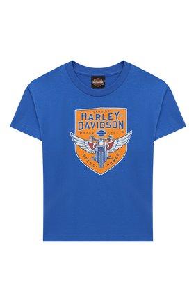 Детская хлопковая футболка HARLEY-DAVIDSON синего цвета, арт. 30297496 | Фото 1