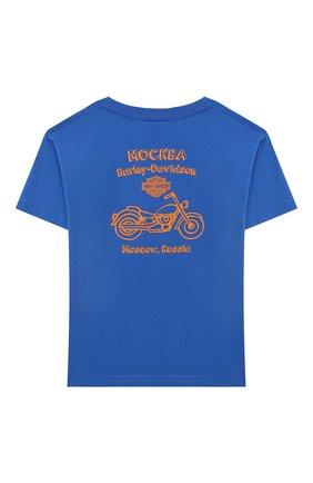 Детская хлопковая футболка HARLEY-DAVIDSON синего цвета, арт. 30297496 | Фото 2