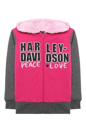 Детский хлопковая толстовка HARLEY-DAVIDSON розового цвета, арт. 6543735 | Фото 1