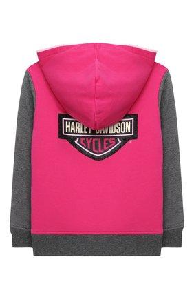 Детский хлопковая толстовка HARLEY-DAVIDSON розового цвета, арт. 6543735 | Фото 2