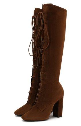 Женские замшевые сапоги laura SAINT LAURENT коричневого цвета, арт. 606293/0LI00 | Фото 1