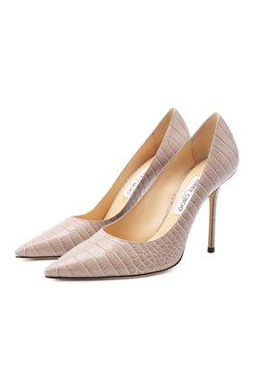 Женская кожаные туфли love 100 JIMMY CHOO бежевого цвета, арт. L0VE 100/CCL | Фото 1