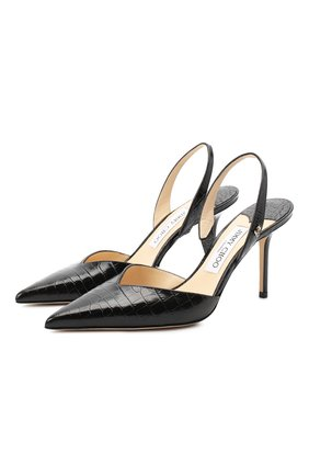 Женская кожаные туфли thandi 85 JIMMY CHOO черного цвета, арт. THANDI 85/CCL | Фото 1