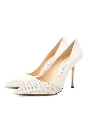 Женская кожаные туфли love 100 JIMMY CHOO белого цвета, арт. L0VE 100/XNS | Фото 1