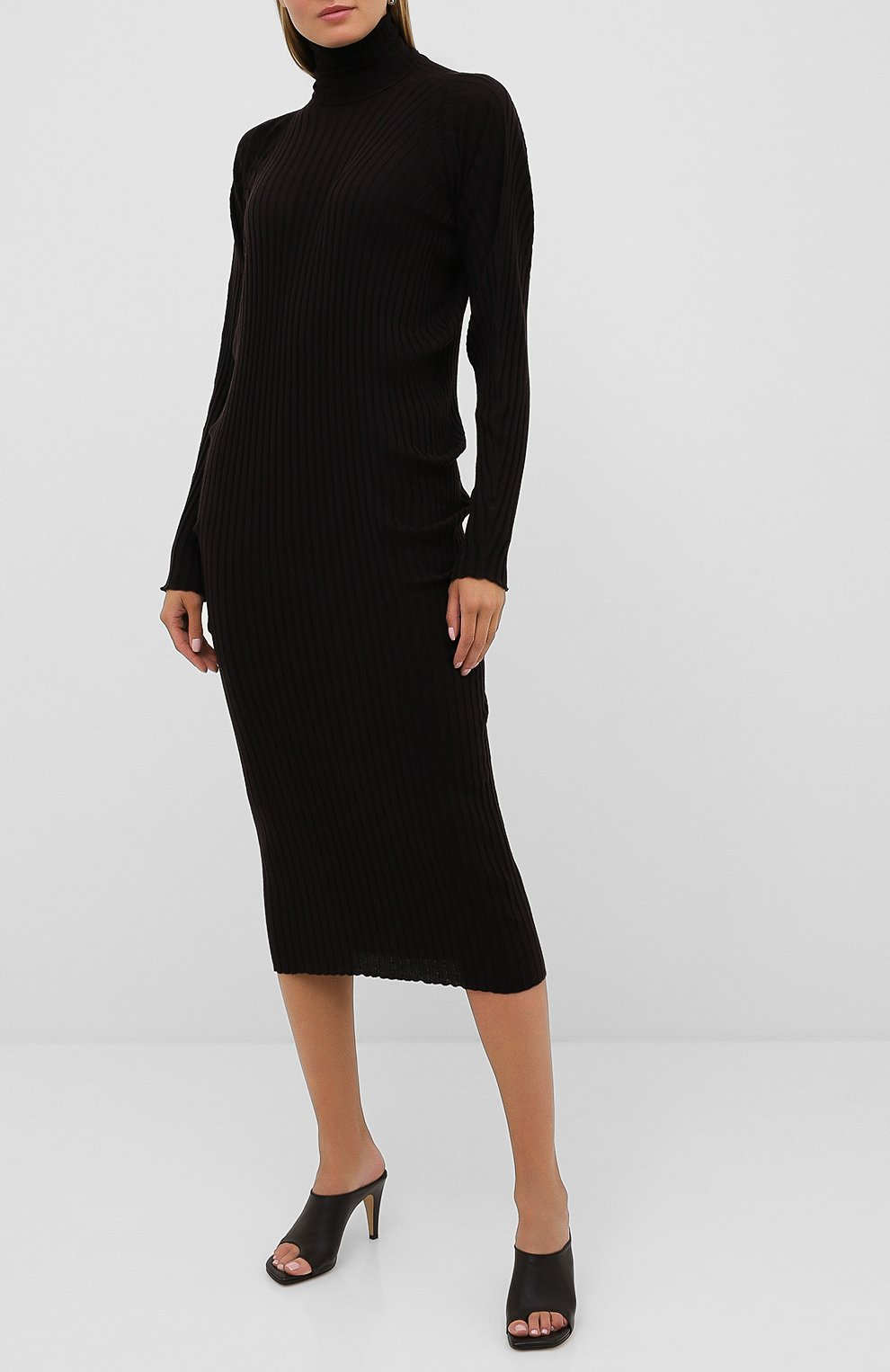 Женское шерстяное платье BOTTEGA VENETA коричневого цвета, арт. 626961/VKWG0 | Фото 3