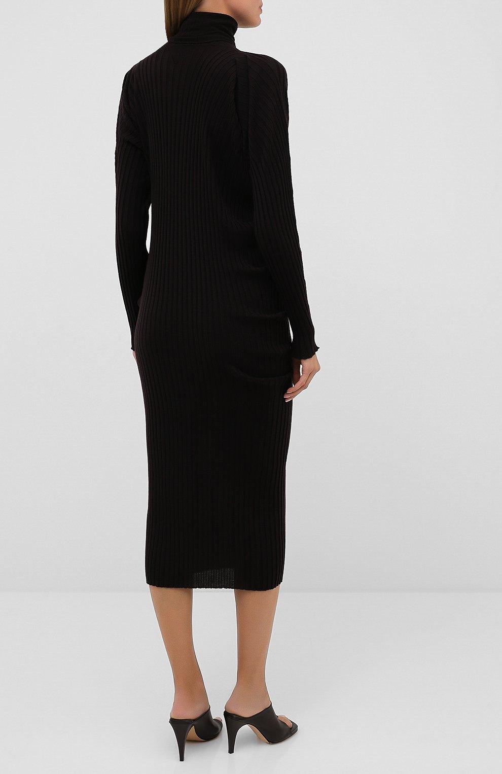 Женское шерстяное платье BOTTEGA VENETA коричневого цвета, арт. 626961/VKWG0 | Фото 4