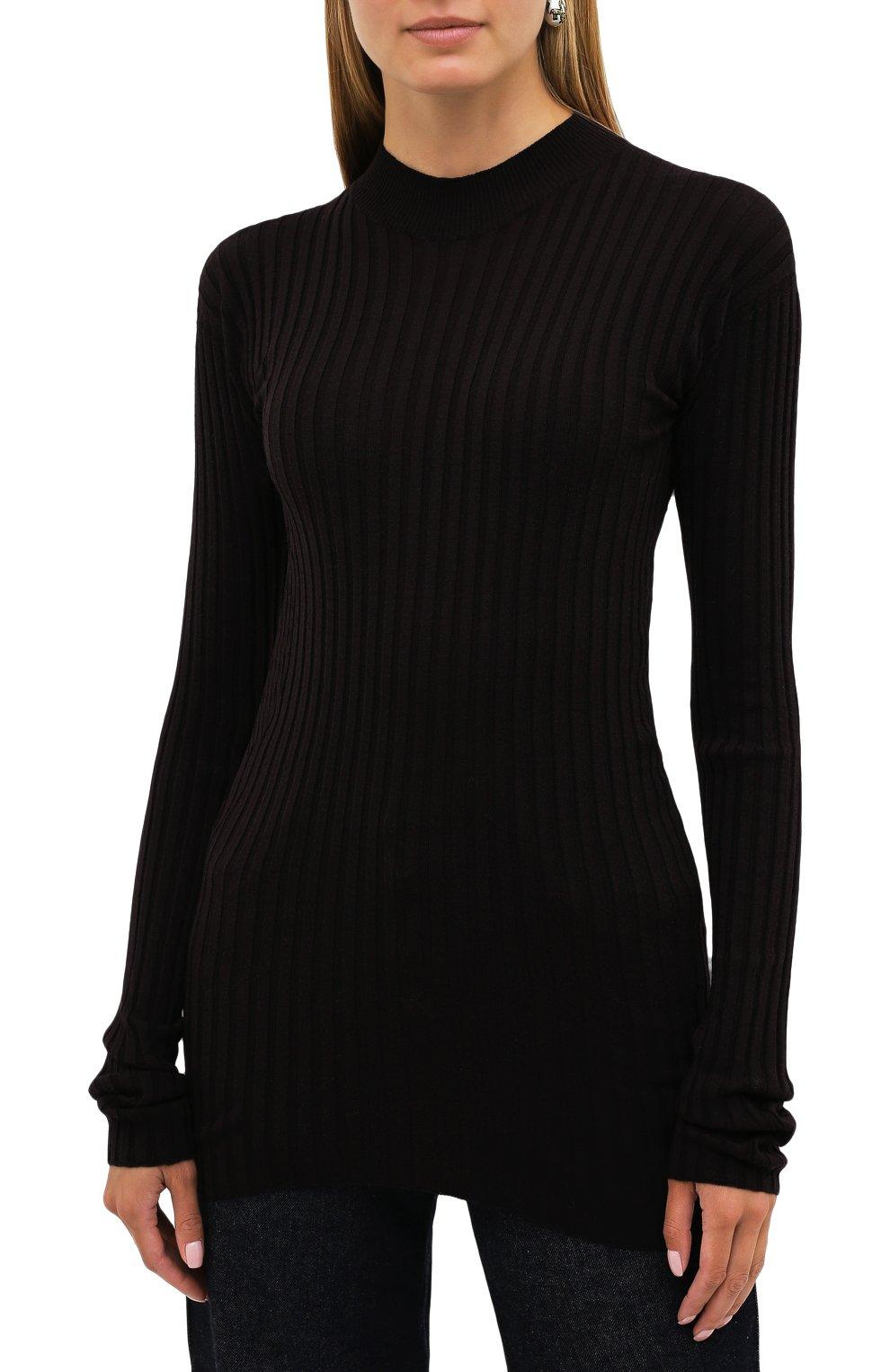 Женский шерстяной пуловер BOTTEGA VENETA коричневого цвета, арт. 631301/VKWG0 | Фото 3