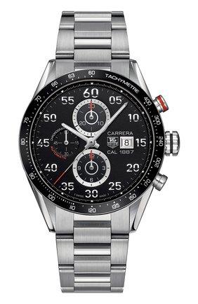 Мужские часы caliber 1887 TAG HEUER черного цвета, арт. CAR2A10.BA0799 | Фото 1