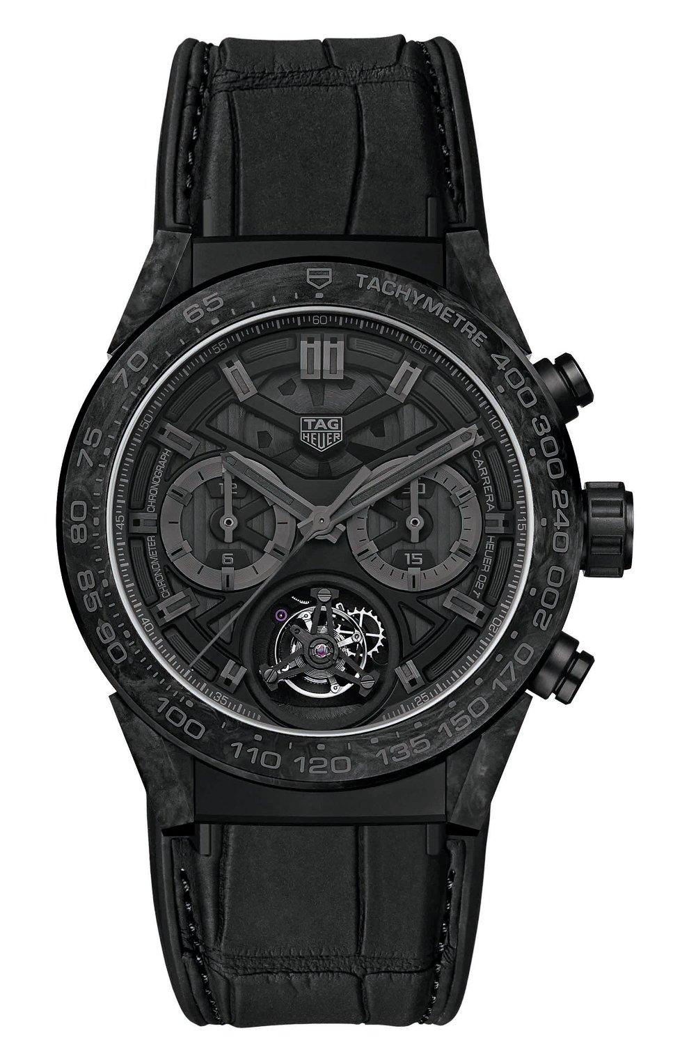 Мужские часы carrera caliber heuer TAG HEUER черного цвета, арт. CAR5A8P.FC6415 | Фото 1