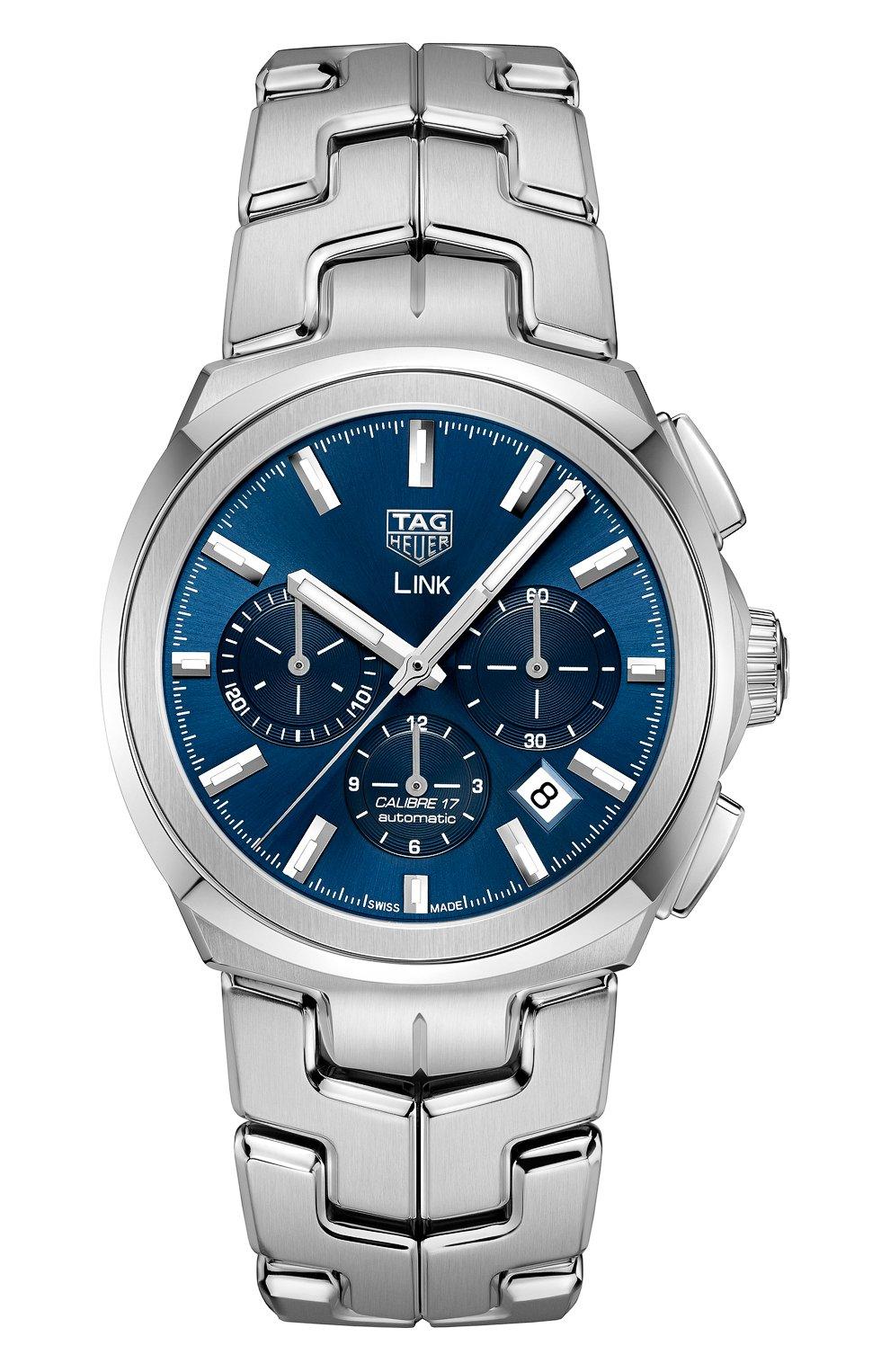 Мужские часы link caliber 17 TAG HEUER бесцветного цвета, арт. CBC2112.BA0603   Фото 1 (Механизм: Автомат; Материал корпуса: Сталь; Цвет циферблата: Синий)