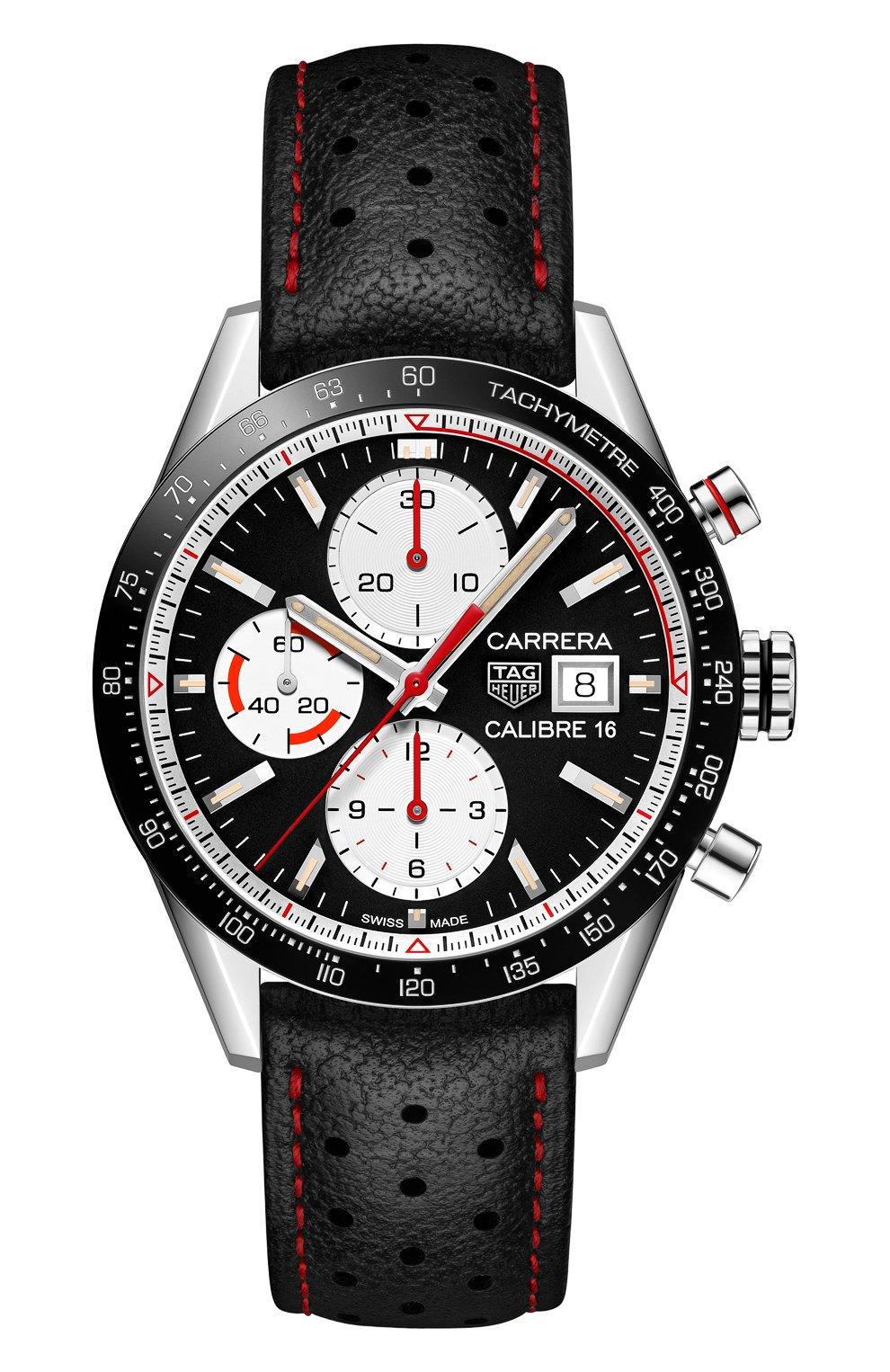 Мужские часы carrera TAG HEUER бесцветного цвета, арт. CV201AP.FC6429   Фото 1 (Механизм: Автомат; Материал корпуса: Сталь; Цвет циферблата: Чёрный)