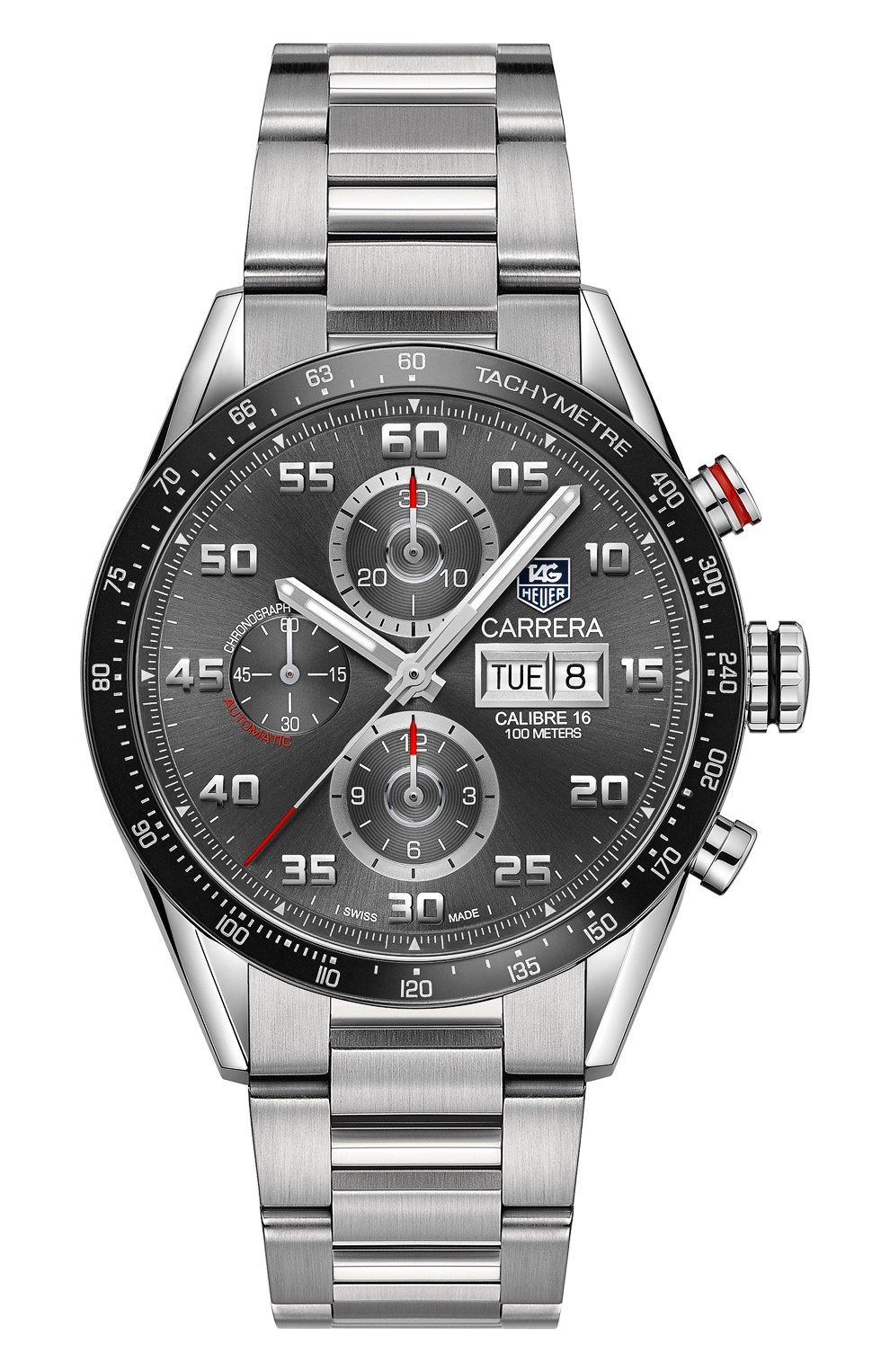 Мужские часы calibre 16 TAG HEUER серого цвета, арт. CV2A1U.BA0738 | Фото 1