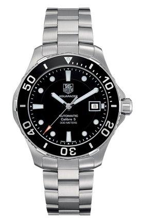 Мужские часы calibre 5 TAG HEUER черного цвета, арт. WAN2110.BA0822 | Фото 1