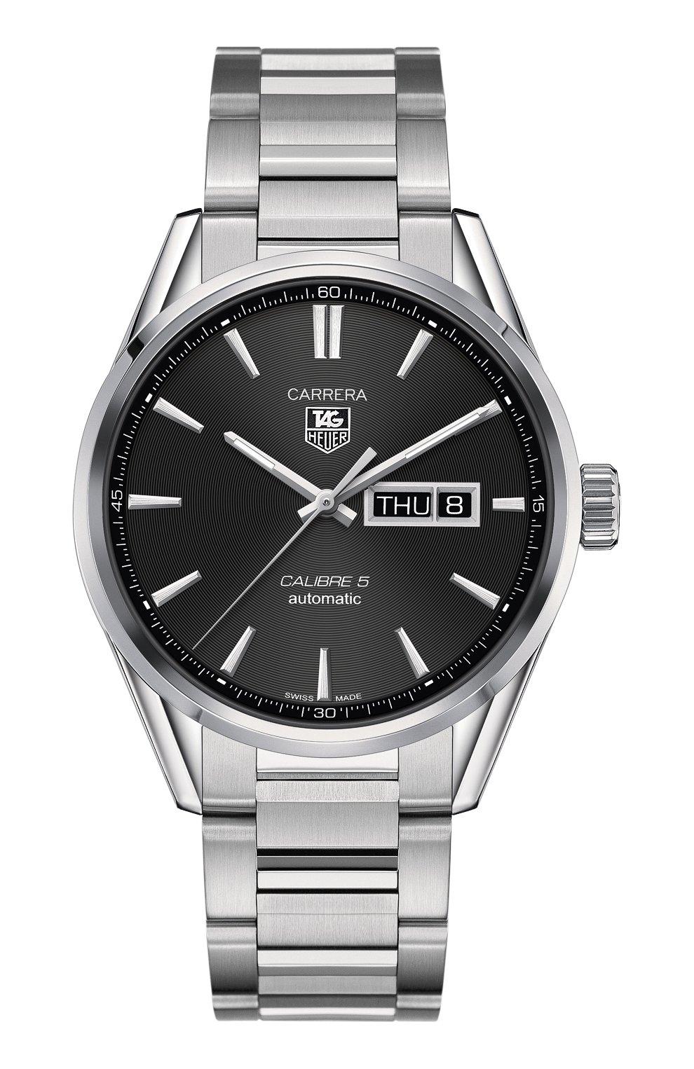 Мужские часы calibre 5 day-date TAG HEUER бесцветного цвета, арт. WAR201A.BA0723 | Фото 1 (Механизм: Автомат; Материал корпуса: Сталь; Цвет циферблата: Чёрный)