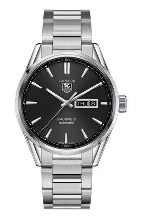 Мужские часы calibre 5 day-date TAG HEUER черного цвета, арт. WAR201A.BA0723 | Фото 1