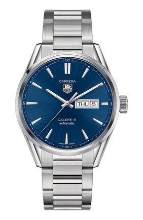 Мужские часы calibre 5 day-date TAG HEUER синего цвета, арт. WAR201E.BA0723 | Фото 1