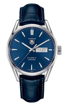 Мужские часы calibre 5 day-date TAG HEUER синего цвета, арт. WAR201E.FC6292 | Фото 1