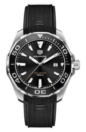 Мужские часы aquaracer 43 mm TAG HEUER черного цвета, арт. WAY101A.FT6141 | Фото 1