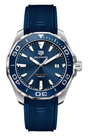 Мужские часы aquaracer 43 мм TAG HEUER синего цвета, арт. WAY101C.FT6153 | Фото 1