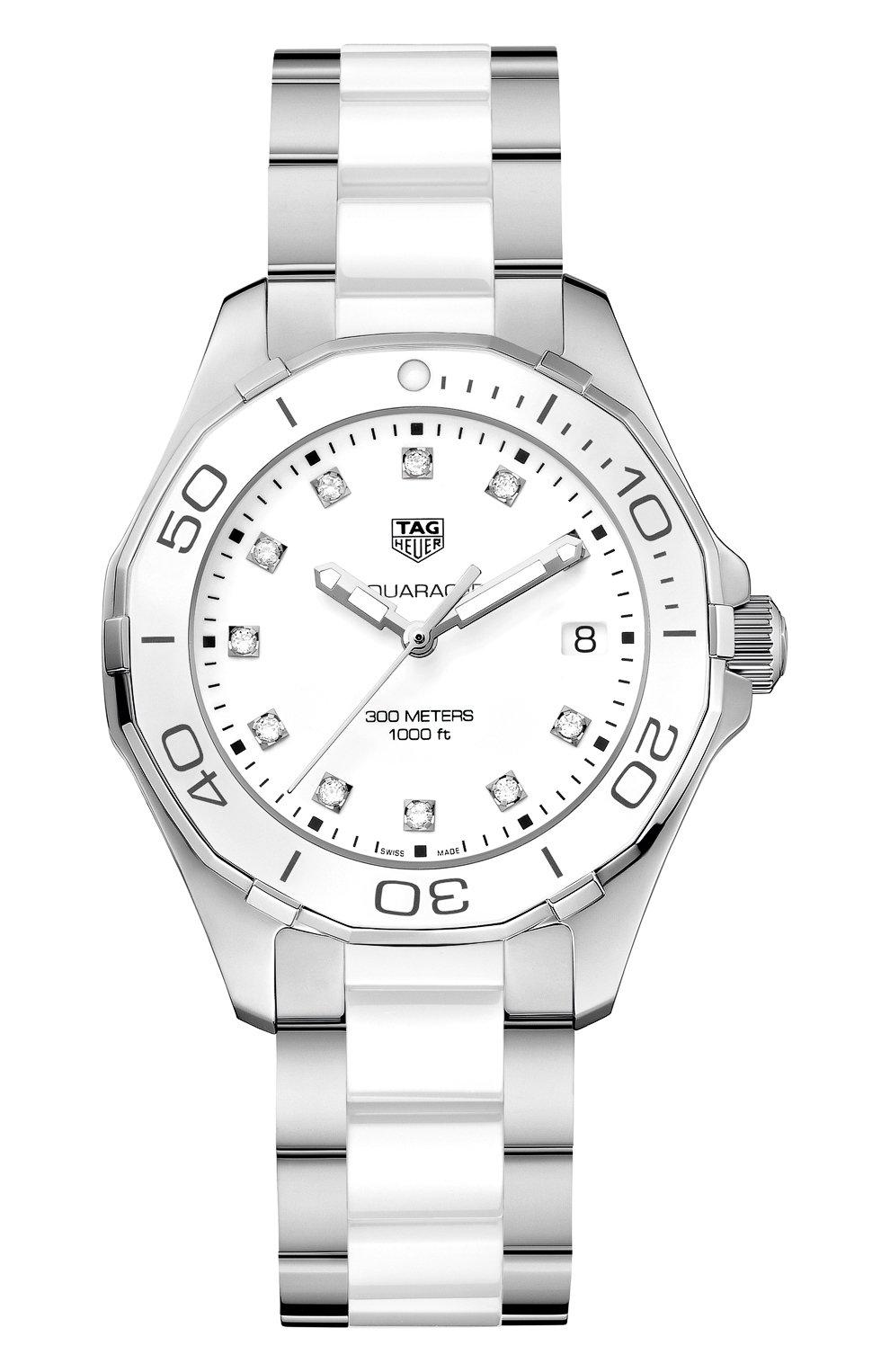 Женские часы TAG HEUER белого цвета, арт. WAY131D.BA0914 | Фото 1