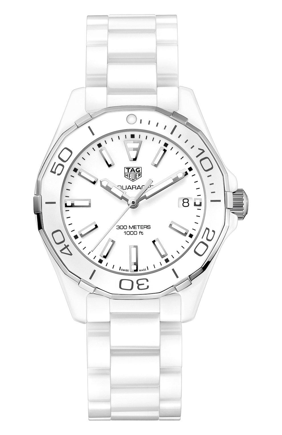 Женские часы aquaracer 35 TAG HEUER белого цвета, арт. WAY1391.BH0717 | Фото 1