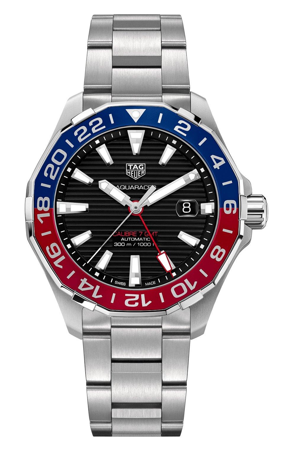 Мужские часы calibre 7 gmt TAG HEUER бесцветного цвета, арт. WAY201F.BA0927   Фото 1 (Механизм: Автомат; Материал корпуса: Сталь; Цвет циферблата: Чёрный)