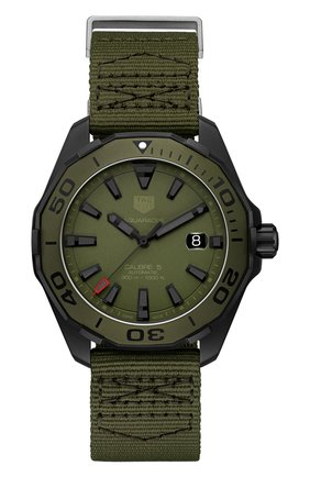 Мужские часы calibre 5 TAG HEUER хаки цвета, арт. WAY208E.FC8222 | Фото 1