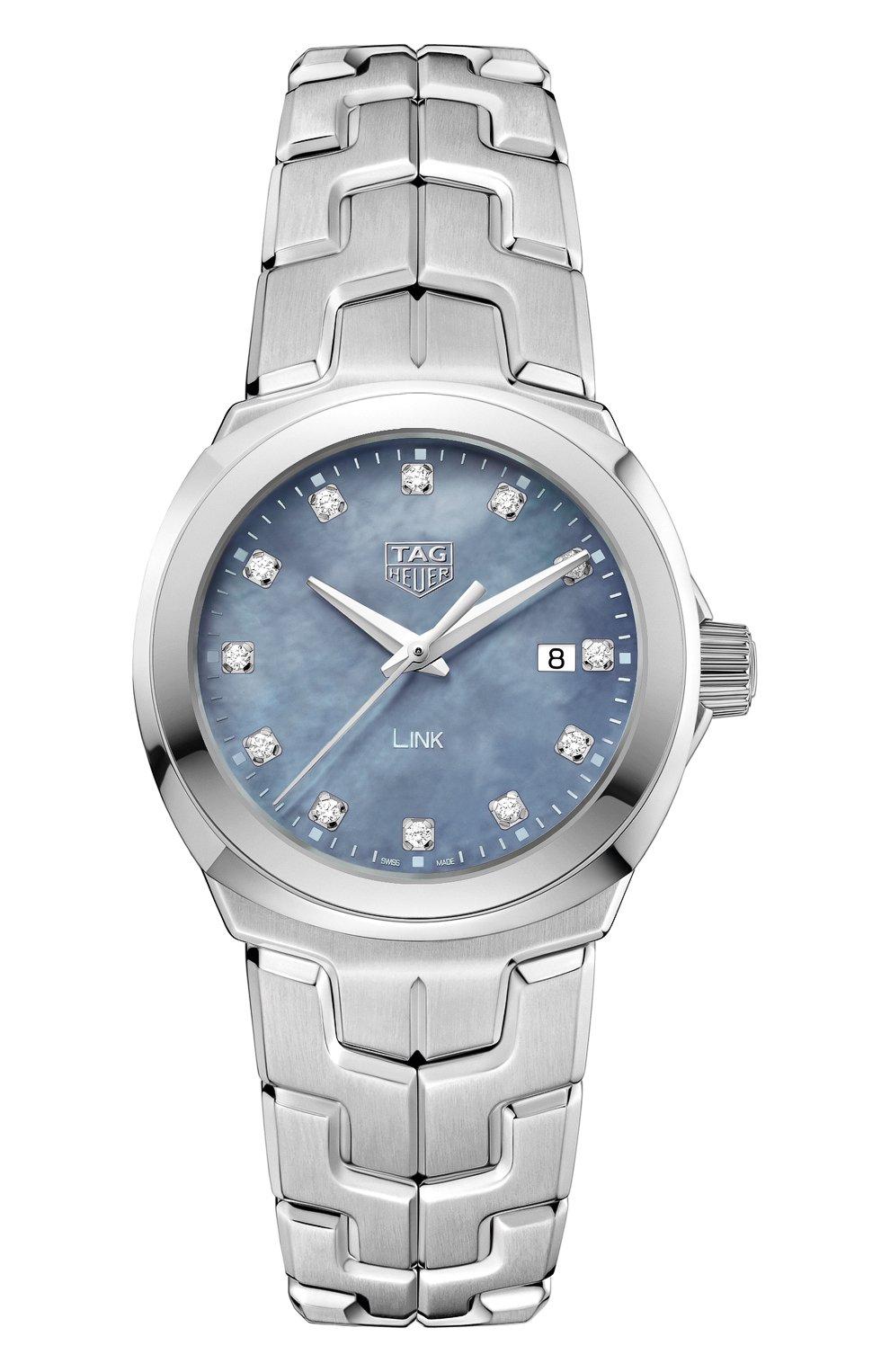 Женские часы TAG HEUER бесцветного цвета, арт. WBC1313.BA0600 | Фото 1 (Механизм: Кварц; Цвет циферблата: Перламутровый)