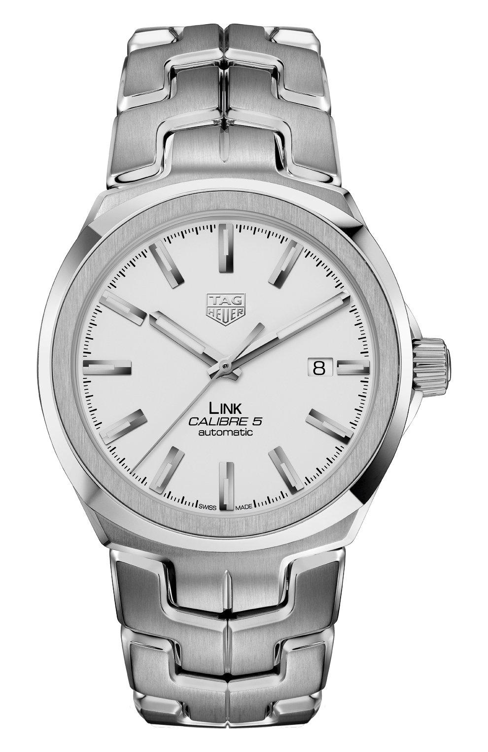 Мужские часы calibre 5 TAG HEUER белого цвета, арт. WBC2111.BA0603 | Фото 1