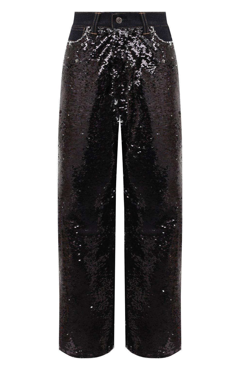 Женские джинсы с пайетками GOLDEN GOOSE DELUXE BRAND черного цвета, арт. G36WP084.A1   Фото 1