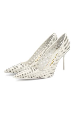 Женские кожаные туфли TOM FORD белого цвета, арт. W2523T-ICL013 | Фото 1 (Материал внутренний: Натуральная кожа; Подошва: Плоская; Каблук тип: Шпилька; Каблук высота: Высокий)