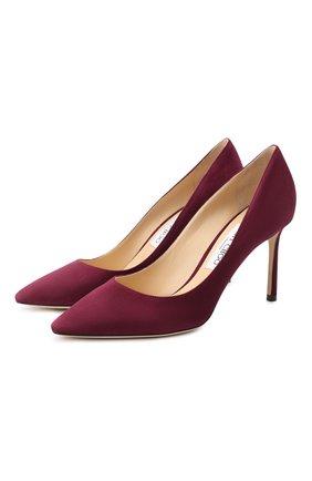 Женская замшевые туфли romy 85 JIMMY CHOO бордового цвета, арт. R0MY 85/SUE | Фото 1