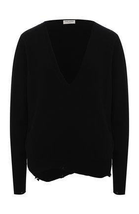 Женская кашемировый пуловер SAINT LAURENT черного цвета, арт. 633328/YALL2 | Фото 1