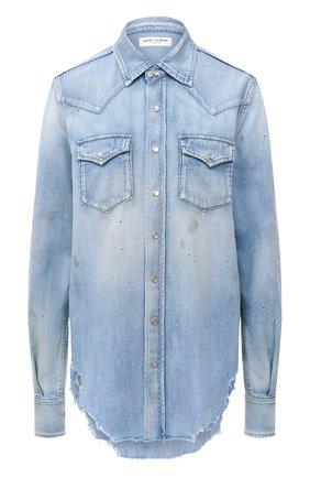 Женская джинсовая рубашка SAINT LAURENT голубого цвета, арт. 630221/Y880Z | Фото 1