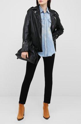 Женская джинсовая рубашка SAINT LAURENT голубого цвета, арт. 630221/Y880Z | Фото 2